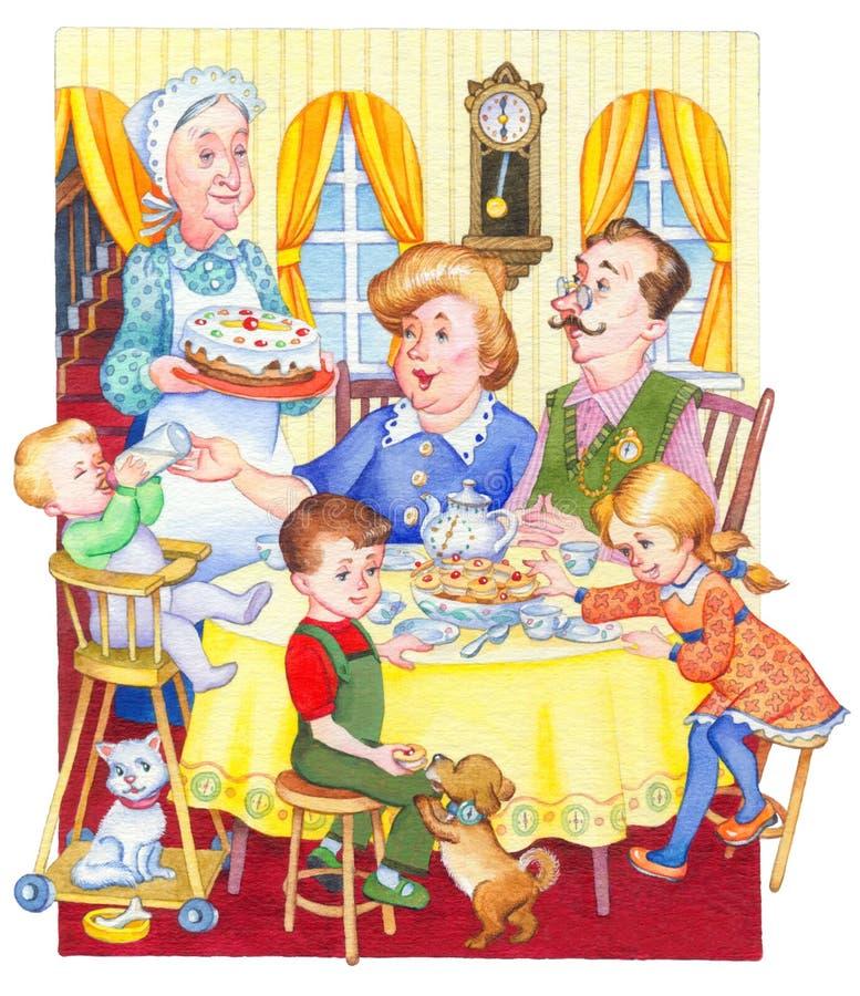 изображение иллюстрации летания клюва декоративное своя бумажная акварель ласточки части Счастливая семья для праздничного чая иллюстрация штока