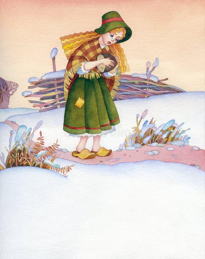 изображение иллюстрации летания клюва декоративное своя бумажная акварель ласточки части Плохая девушка на следе зимы иллюстрация вектора