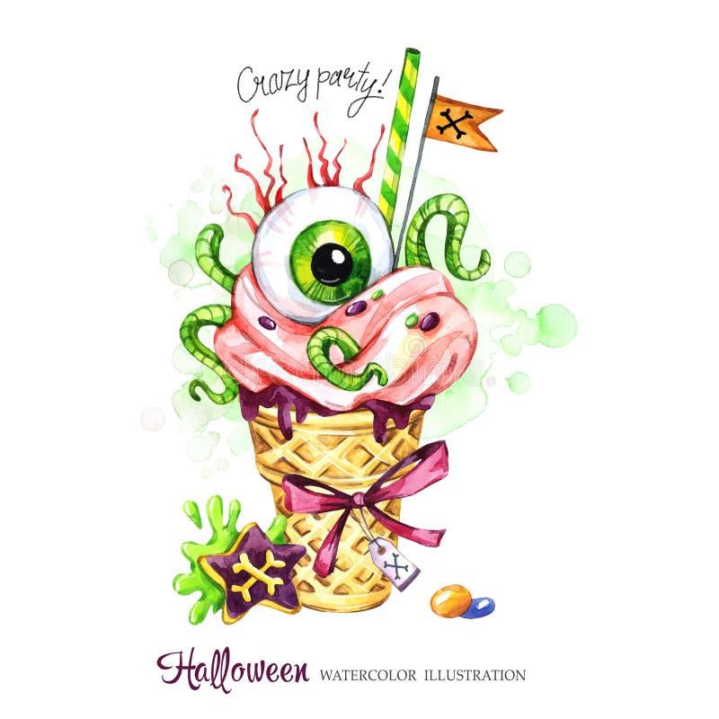 изображение иллюстрации летания клюва декоративное своя бумажная акварель ласточки части Карточка праздников хеллоуина Вручите по иллюстрация вектора