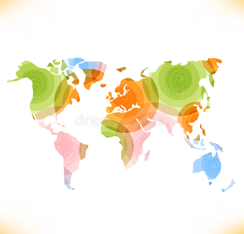 Изображение карты вектора multicolor стилизованное знамени экологичности мира иллюстрация вектора