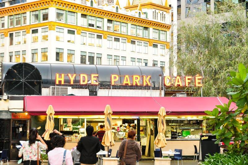 Изображение кафа Гайд-парка, одно из известного кафа в Сиднее стоковое фото