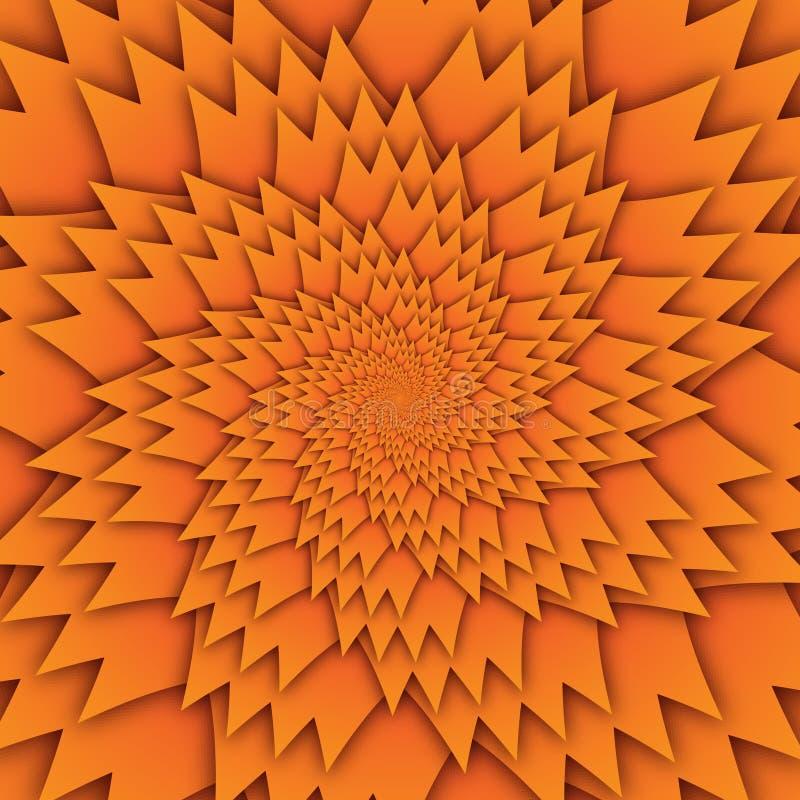 Изображение квадрата предпосылки абстрактной картины мандалы звезды декоративной оранжевое, картина изображения искусства иллюзии иллюстрация штока