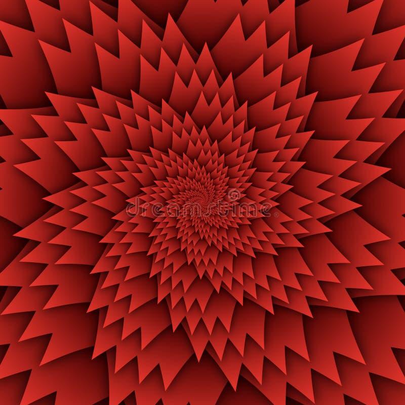 Изображение квадрата предпосылки абстрактной картины мандалы звезды декоративной красное, картина изображения искусства иллюзии,  иллюстрация вектора