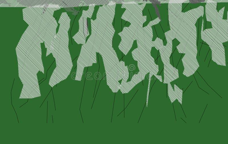 Изображение конспекта 4 лиственницы зеленое делает новый ландшафт стоковое изображение