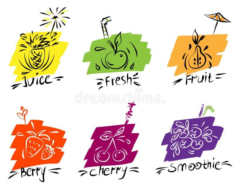 Изображение контура плодов и ягод на покрашенных предпосылках, стилизованное вручную, для меню баров и каф иллюстрация штока