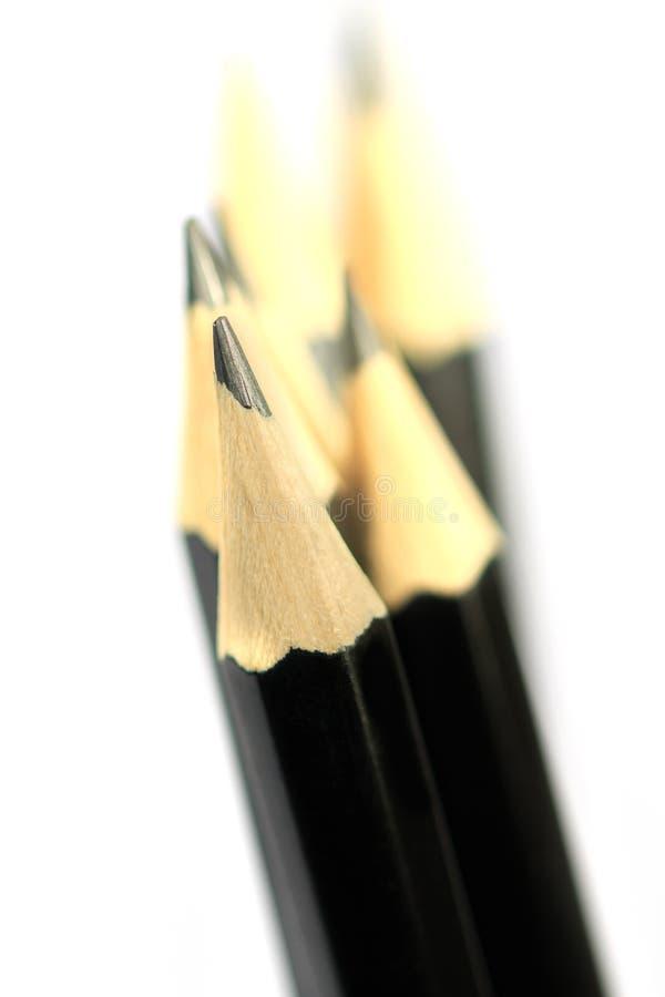 Изображение конца-вверх макроса черных карандашей стоковые изображения rf