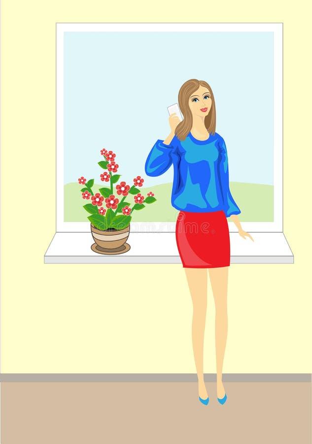 Изображение красивой молодой дамы Прекрасная жизнерадостная девушка в голубой блузке говоря по телефону Оно стоит на предпосылке  иллюстрация штока