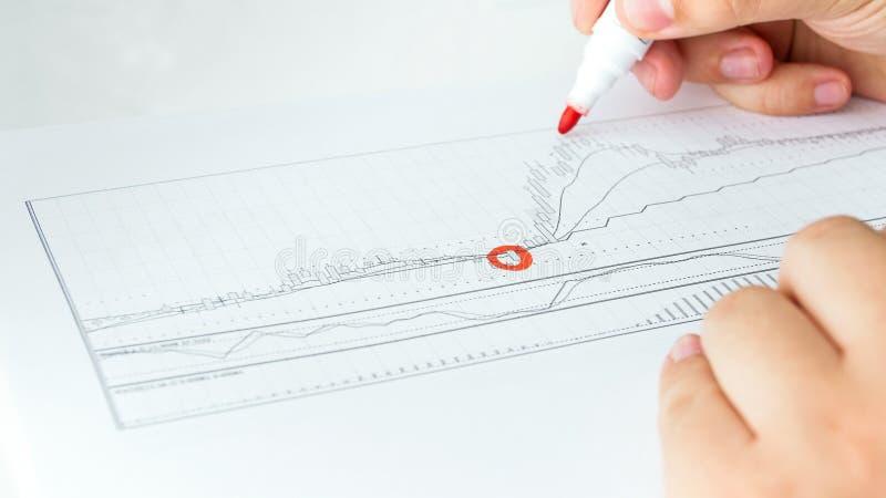 Изображение крупного плана важных аспектов бизнесмена отмечать финансовой диаграммы деятельности стоковые фотографии rf