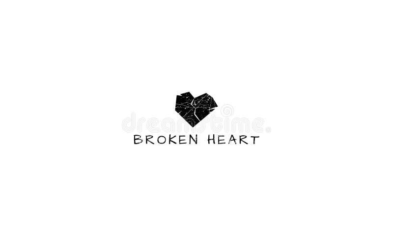 Изображение логотипа вектора разбитого сердца иллюстрация штока