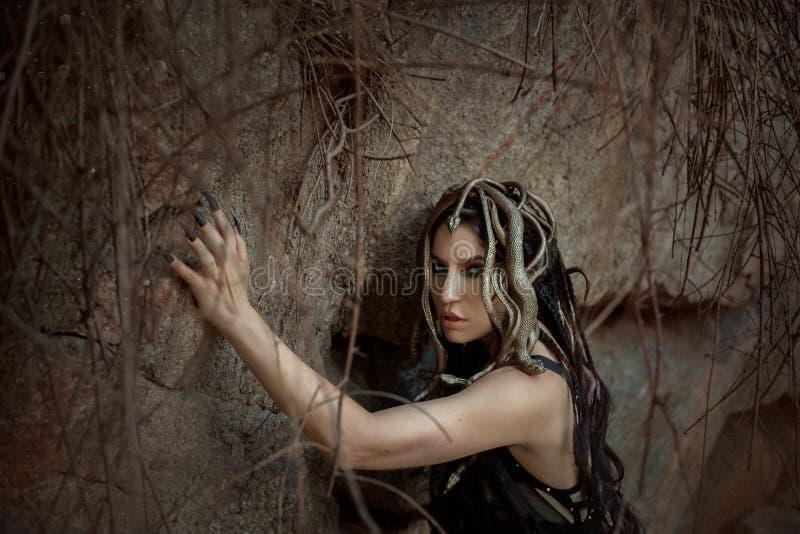 Изображение Медузы Gorgon, волос оплетки и золота snakes, портрет конца-вверх Готический состав в зеленых тенях Предпосылка  стоковое изображение