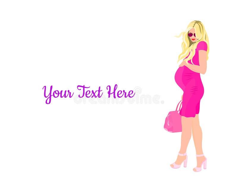 Изображение модной беременной женщины в коротком маленьком платье с рисунком в сумке, который был сделан на белом фоне. стоковое изображение rf