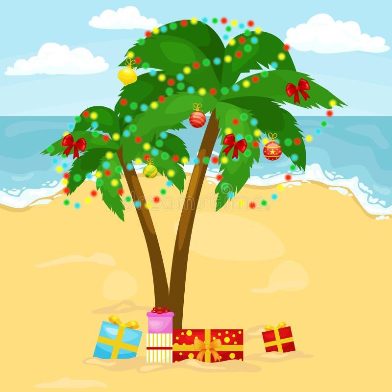 Изображение мультфильма пальмы украшенное со светами рождества иллюстрация вектора