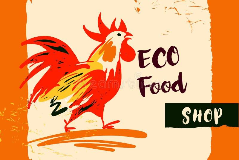Изображение нарисованное рукой с петухом огня Дизайн концепции для еды eco бесплатная иллюстрация