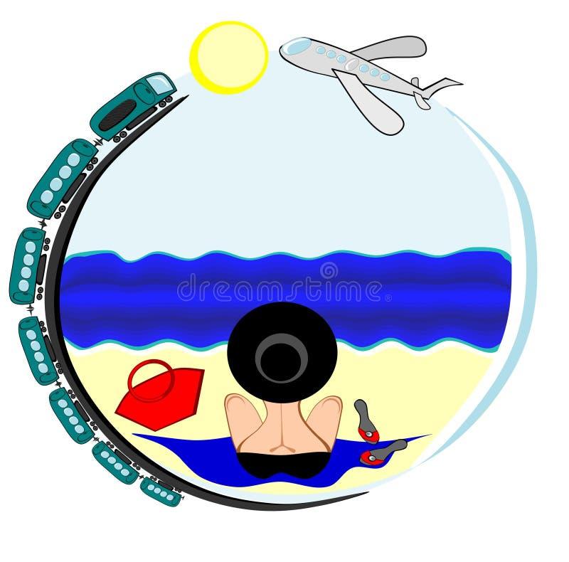Изображение на круглой предпосылке на которой женщина в купальном костюме и шляпе сидит с ее задней частью к телезрителю и взгляд иллюстрация штока