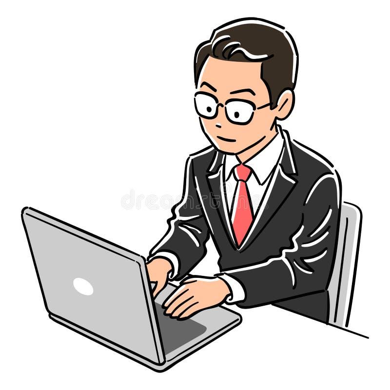 Изображение ноутбука человека менеджера работая иллюстрация штока