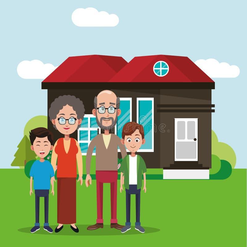 изображение дома членов семьи иллюстрация штока