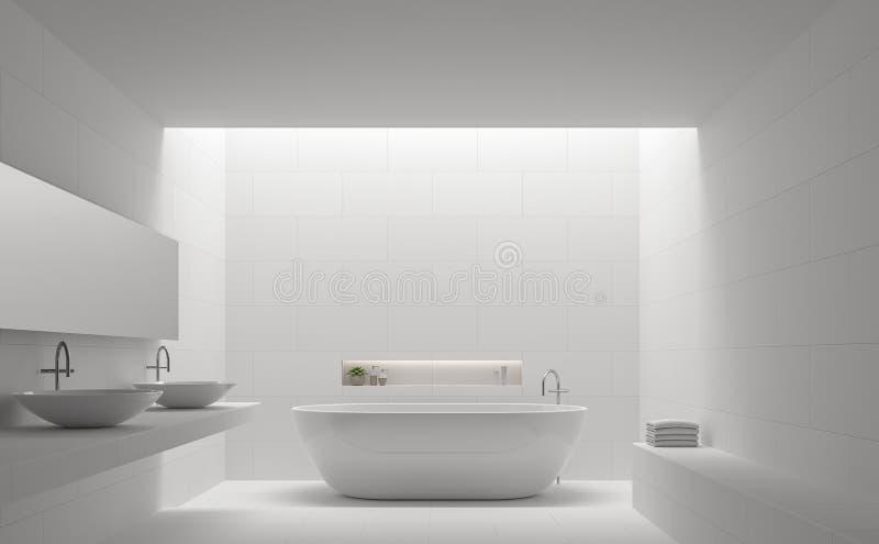 Изображение перевода стиля 3d современной белой ванной комнаты внутреннее минимальное иллюстрация штока