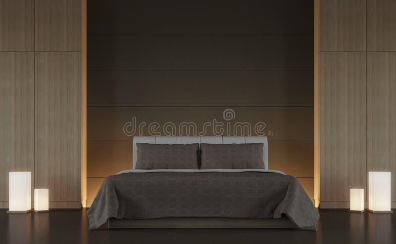 Изображение перевода стиля 3d современной коричневой спальни внутреннее минимальное иллюстрация вектора