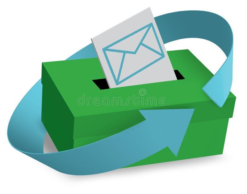 Изображение почтового ящика и писем на белой предпосылке иллюстрация штока