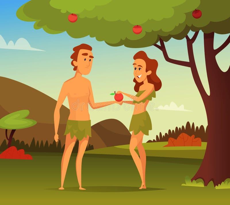 Изображение предпосылки библейского рассказа Заманчивость Адама Иллюстрация первых человека и женщины иллюстрация штока