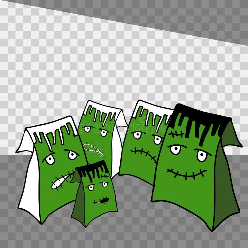 Изображение продажи праздника хеллоуина при хозяйственные сумки для дизайна изолированные на прозрачной предпосылке иллюстрация вектора