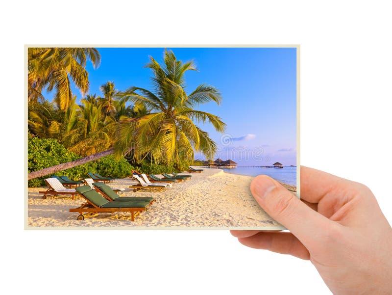 Изображение пляжа руки и Мальдивов (мое фото) стоковое изображение rf