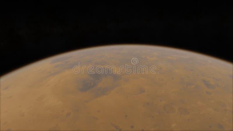 Изображение разрешения Марса высокое, 4k Марс планета солнечной системы Восход солнца с пирофакелом объектива Элементы этого изоб иллюстрация штока