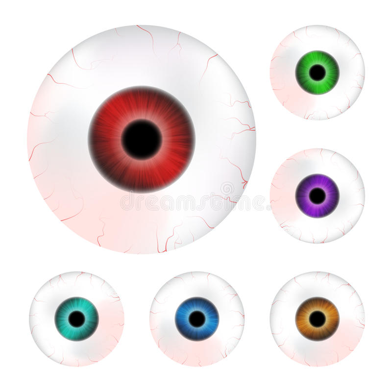 Изображение реалистического шарика человеческого глаза с красочным зрачком, радужкой Иллюстрация вектора изолированная на белой п иллюстрация вектора