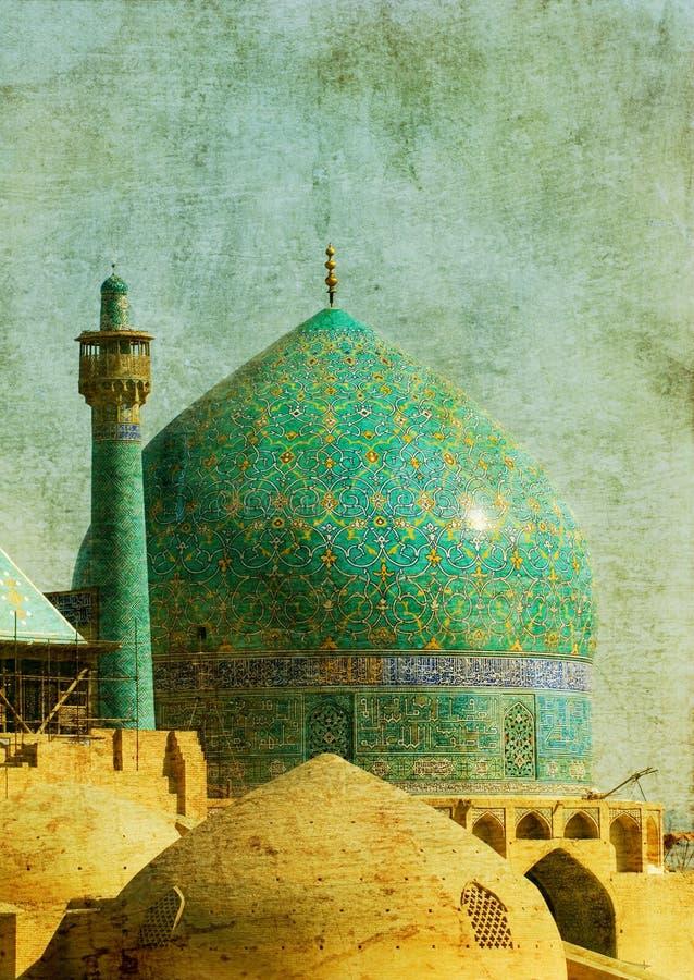 Изображение сбора винограда мечети имама, иллюстрация вектора
