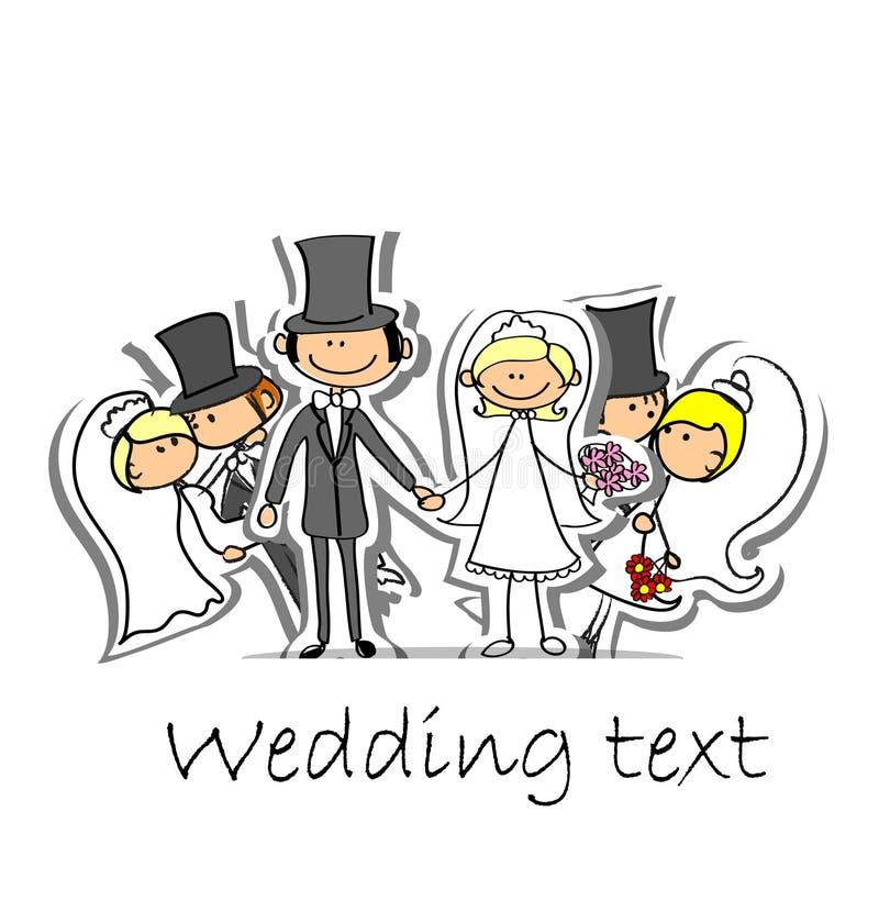 Изображение свадьбы шаржа, вектор иллюстрация вектора