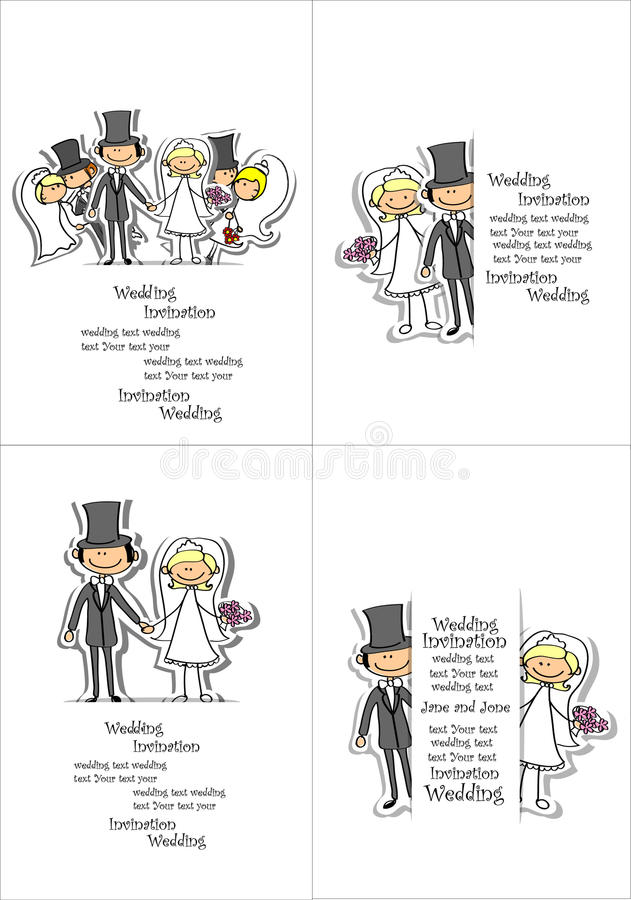 Изображение свадьбы шаржа иллюстрация штока
