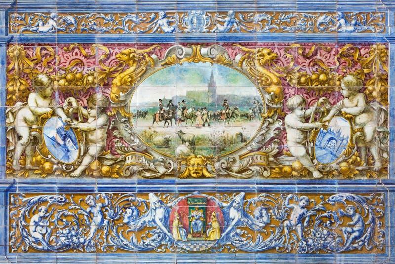 Изображение Севильи - Севильи как одна часть крыть черепицей черепицей 'беседк провинции' вдоль стен площади de Espana стоковое изображение