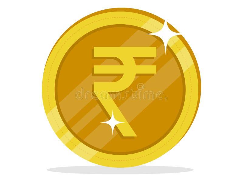 Изображение символа монетки рупии Индии иллюстрация штока