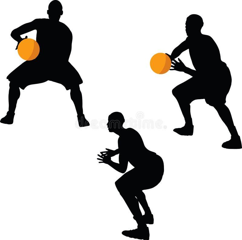 изображение - силуэт баскетболиста в представлении владением, изолированном на белой предпосылке иллюстрация вектора