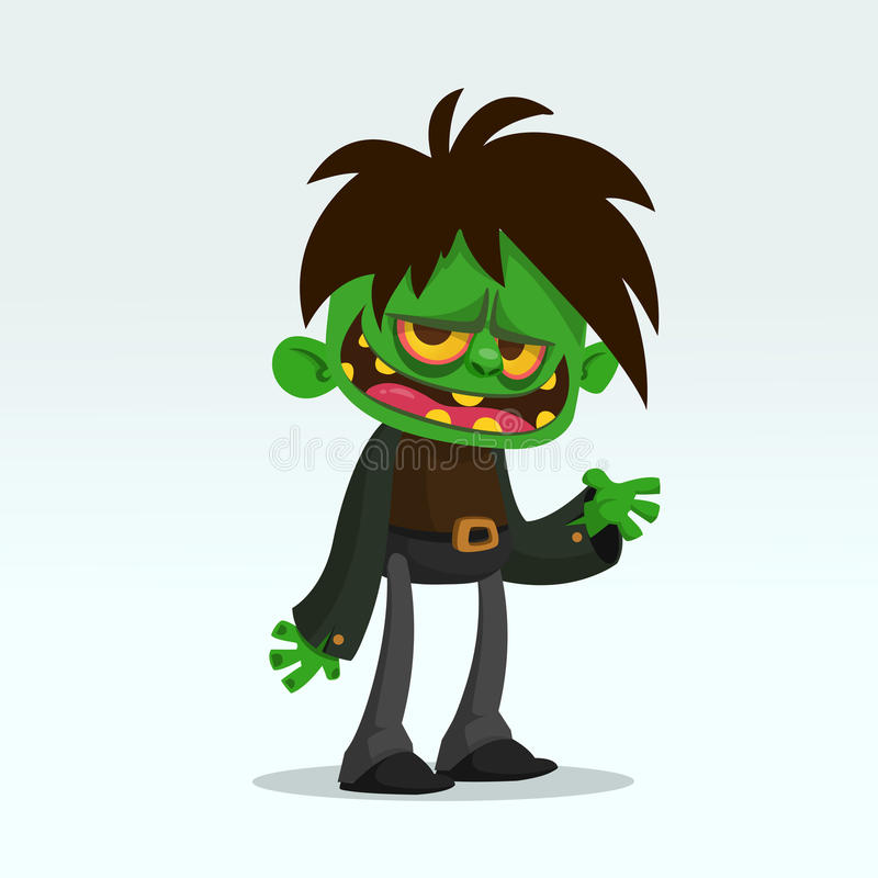 Изображение смешного зеленого делового костюма зомби изолированного на свете - серая предпосылка шаржа вектора Иллюстрация вектор иллюстрация вектора