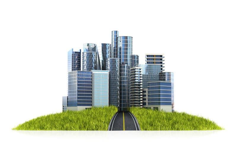 Изображение современного города окружило по своей природе ландшафт иллюстрация штока