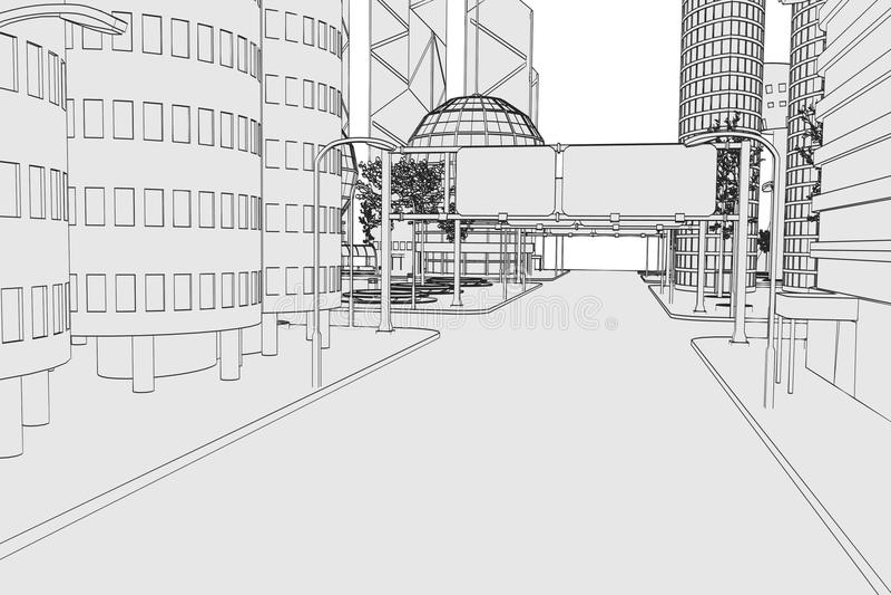 Изображение современного города иллюстрация вектора