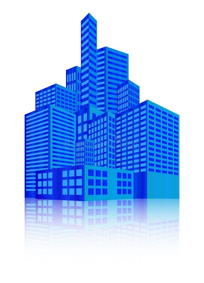 Изображение современного здания, городского городского пейзажа, города освещает, метрополия Иллюстрация вектора изолированная на  бесплатная иллюстрация