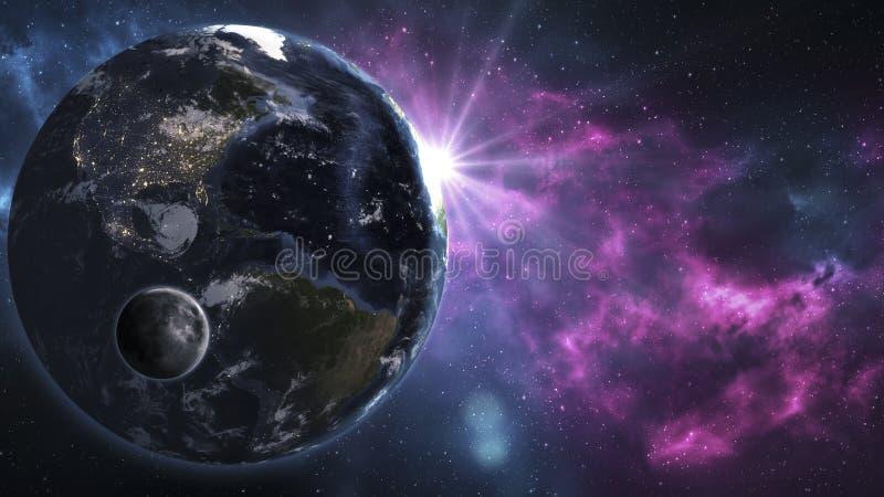 Изображение солнца, луны и мира от космоса Элементы th стоковые фотографии rf