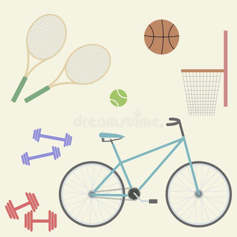 Изображение спорта плоское: велосипед, баскетбол, ракетка, теннисный мяч, гантели бесплатная иллюстрация