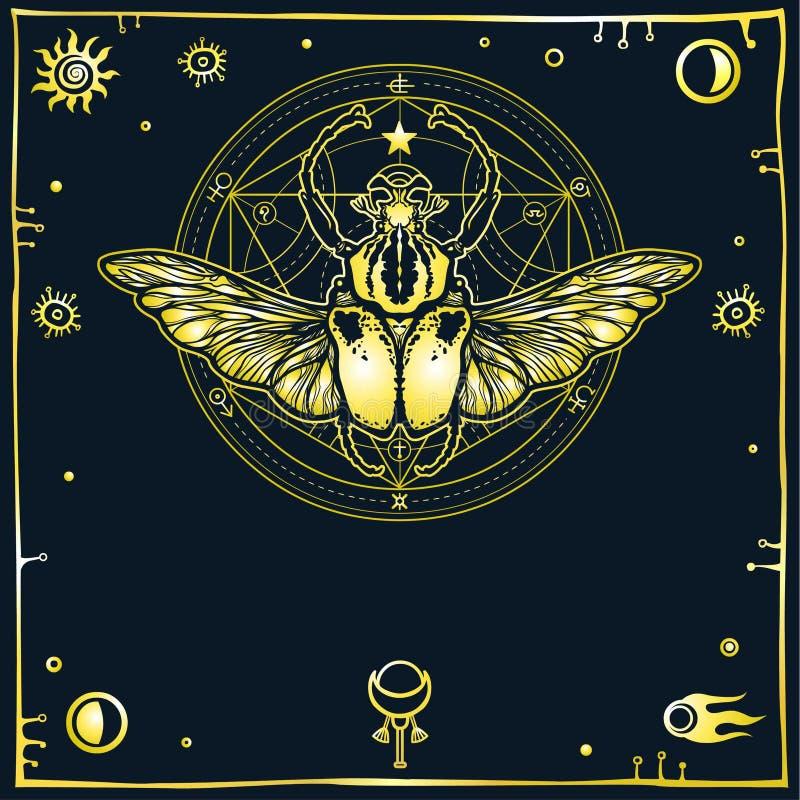 Изображение стилизованной черепашки Голиафа, декоративной рамки Алхимический круг преобразований иллюстрация штока