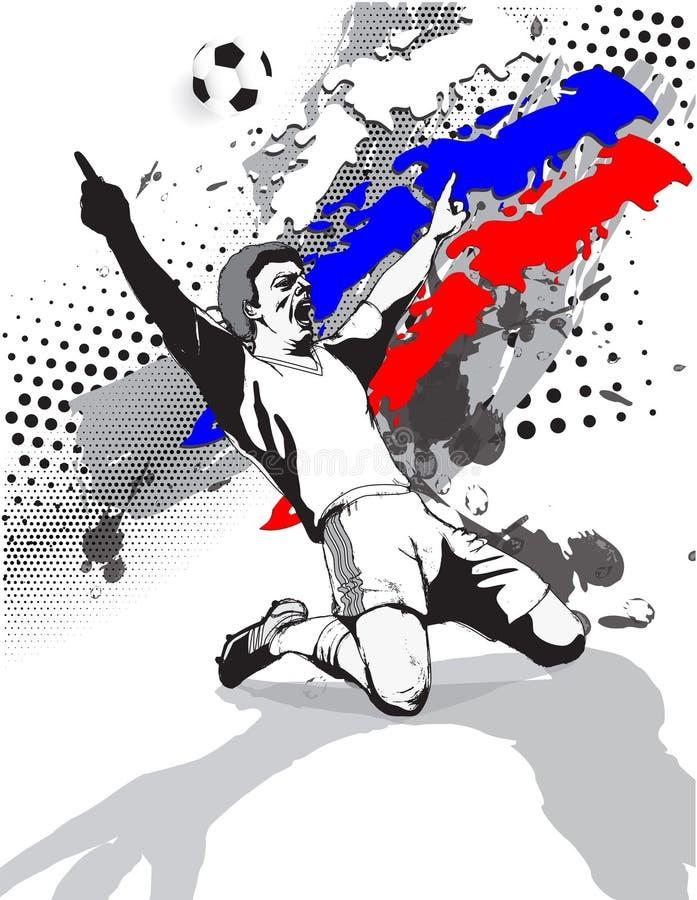Изображение стиля Grunge флага и победа футболиста на футбольном поле России также вектор иллюстрации притяжки corel иллюстрация вектора