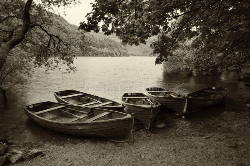 Изображение стиля Sepia ретро покинутого эллинга и весельных лодок стоковое фото rf