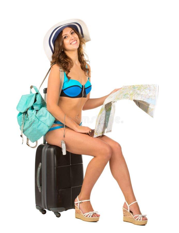 Изображение студии очаровательной молодой женщины в бикини стоковая фотография