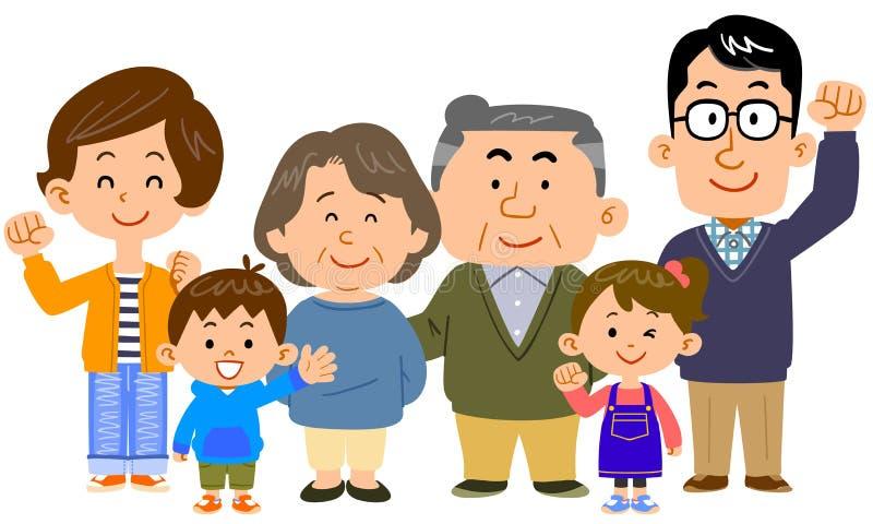 Изображение счастливой семьи 3 поколений иллюстрация штока