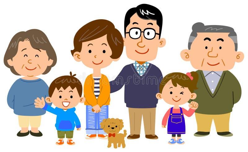 Изображение счастливой семьи 3 поколений бесплатная иллюстрация