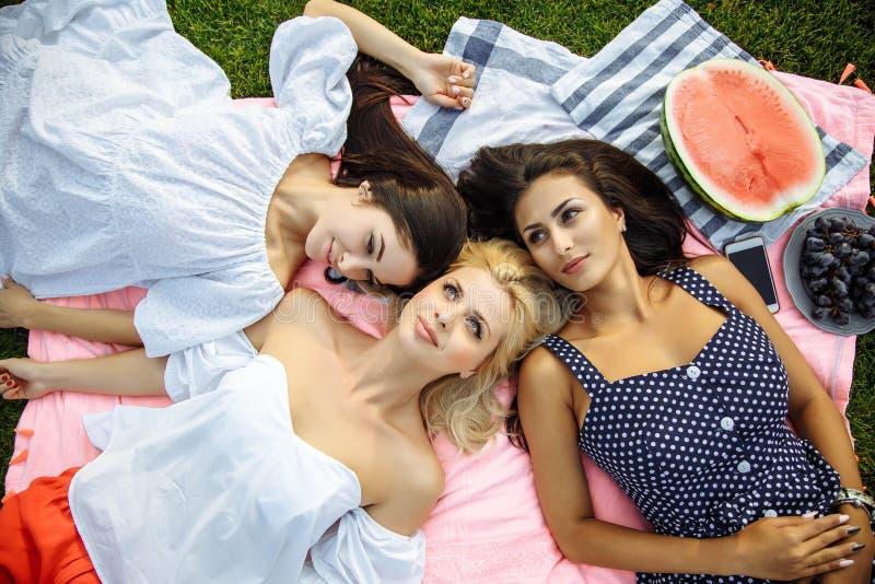 Изображение счастливых друзей лежа на траве и усмехаться стоковое изображение rf