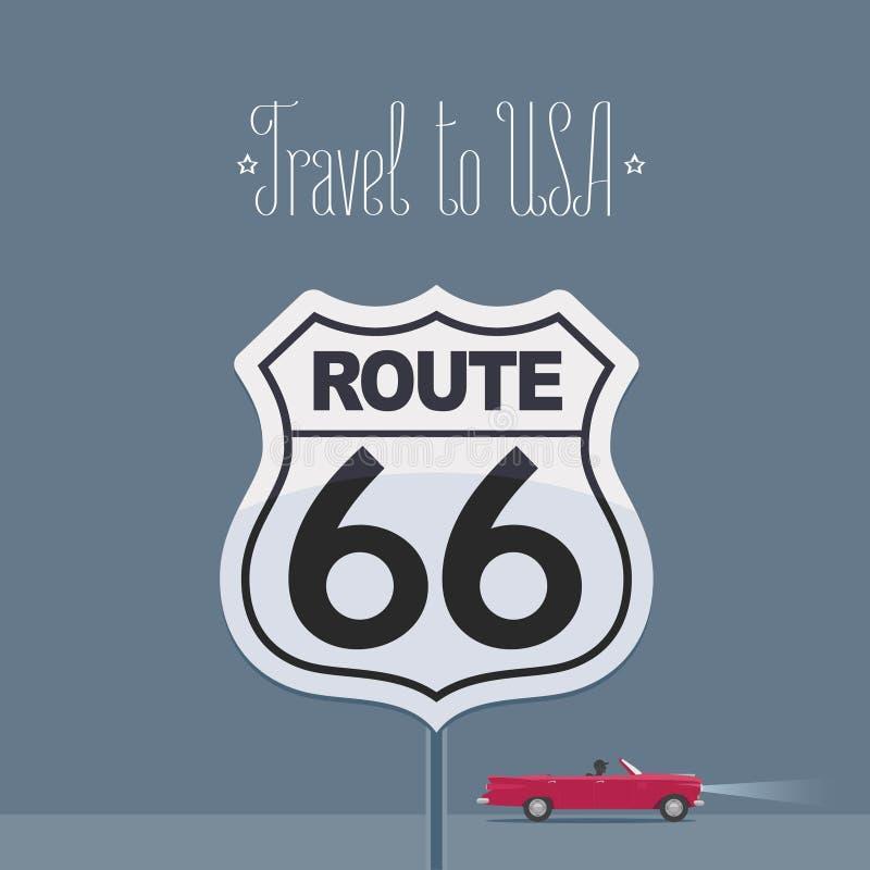 Изображение США посещения с иллюстрацией вектора знака трассы 66, плакатом иллюстрация вектора