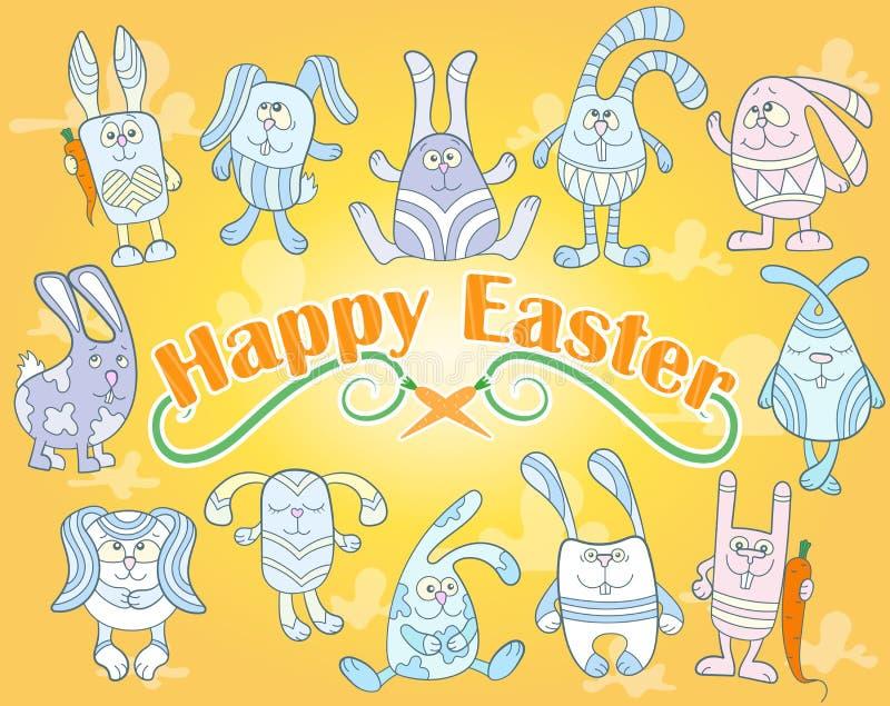 Изображение с набором милых зайчиков пасхи мультфильма на желтой предпосылке, иллюстрации на праздник пасхи иллюстрация штока