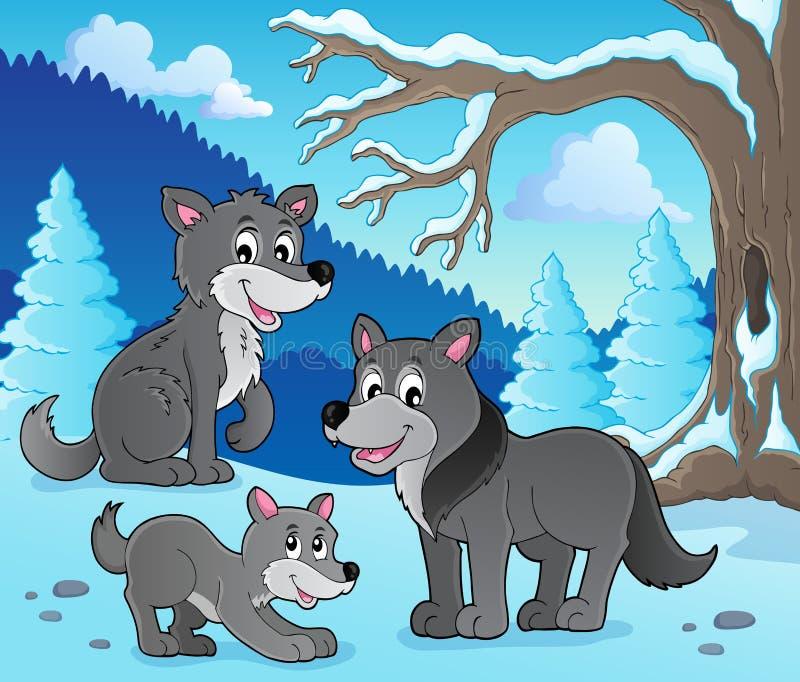Изображение 4 темы волков иллюстрация вектора